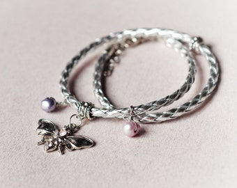 Shiny braided leather wrap bracelet, Moth charm and wire wrapped freshwater pearls, Stacking silver leather bracelet, Gift for her