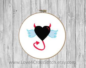 Devil Cross Stitch Pattern Funny, Angel Wings Cross Stitch, Angel Cross Stitch, Heart Cross Stitch Pattern Modern,  Red Heart Cross Stitch