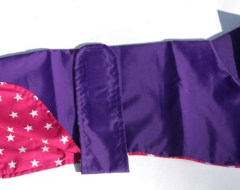Purple Showerproof Coat with White Stars on Cerise Background Cotton Lining