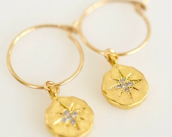 Starburst Drop Dangle Earrings, Dainty Starburst Charms with Cubic Zirconia on Hoops or Earwires in Gold or Sterling Silver