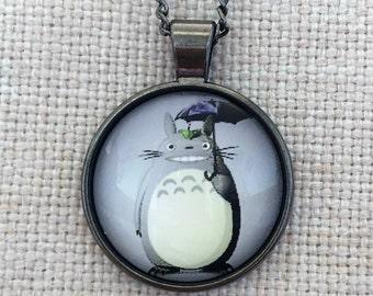 Totoro Ghibli Anime Handmade Vintage Boho Silver Glass Pendant Necklace. Jewellery Gift for Women, Girlfriend, Wife, Fiancee, Girl.