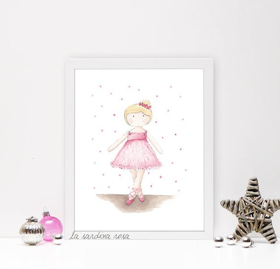 affiche enfant dessin danseuse classique poster aquarelle. Black Bedroom Furniture Sets. Home Design Ideas