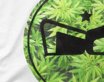 420 RG Logo White T-Shirt - Cannabis Leaf Roots Gear Customs Brand