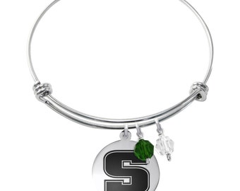 Slippery Rock University Bracelet | Stainless Steel Adjustable Bangle | Three Styles | Officially Licensed