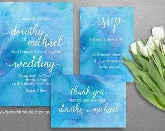 Watercolor wedding invitation suite - Printable wedding invitation suite - Digital wedding invitation - Botanical teal wedding invitations