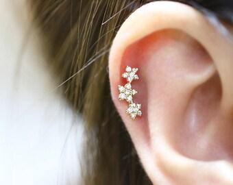 CZ Piercing/Tragus Earring/Cartilage earring/Tragus stud/Tragus Piercing /helix piercing/Barbell/Labret piercing/Conch piercing/flower stud