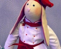 Chef Bunny - Hand-Crafted Cloth Doll - Great for Gifting / Collecting!
