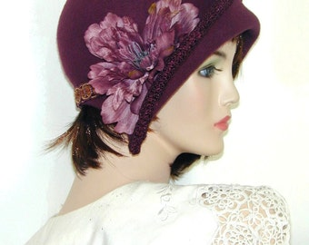 """Ms. Fisher, Custom Convertible ~ 6 in 1 cloche- Downton Abbey hat, Great Gatsby hat- ooak, the """"Mary"""""""