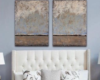 Large painting  Large Abstract Painting, landscape painting abstract  large textured painting,  Diptych Painting, large wall art