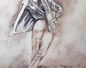 """Sarah DeYong """"Wonderful Wind"""" original 8x11 watercolor painting"""