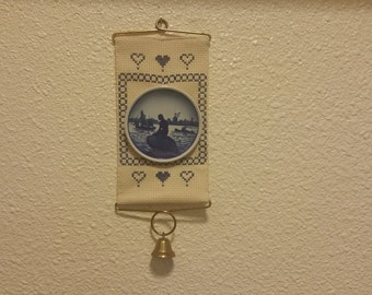 Vintage,Finished,Cross Stitch,Brass Bell Pull,Cream Aida cloth,Blue,embroidered,Royal Copenhagen, Mini Plate,Brass Wall mounting,Brass Bell