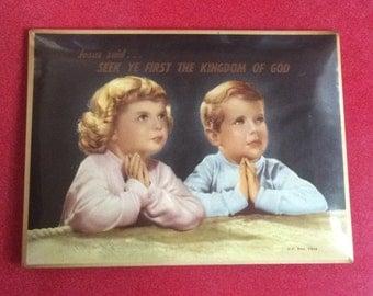 1950s vintage little girl & boy praying metal sign. Religious retro metal sign, funky.