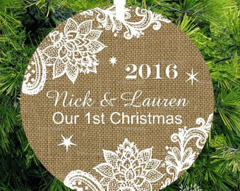 Burlap and Lace Our 1st Christmas Ornament - Personalized Porcelain Newlywed Holiday Ornament - Just Married - lovebirdschristmas