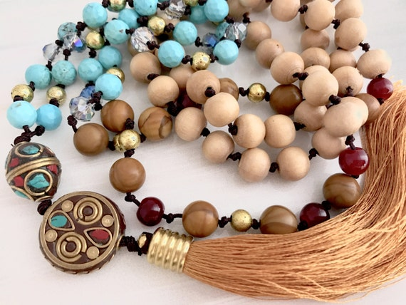 Vintage brass bead mala, turquoise beads, tassel necklace, yoga beads