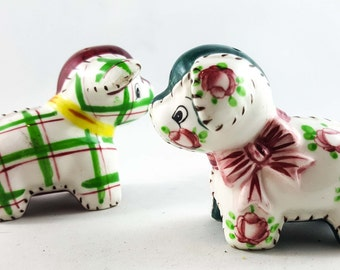 Calico Dog and Gingham Dog Ceramic Salt and Pepper Rare Green Colors Brayton Pottery Nursery Rhyme Decor