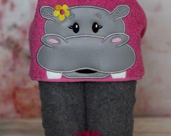 Girl Hippo Hooded Towel - Toddler Towel - Kids Bath Towel - Towel Wrap - Beach Towel for Kids - Animal Towel -Character Towel- READY TO SHIP