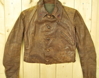 Vintage 1940's/50's Women's Brown Leather Jacket / Motorcycle Jacket  / Retro Collectable Rare