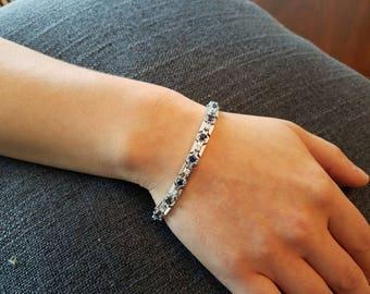 "Diamond/Sapphire/14K White Gold Bracelet (7"")"