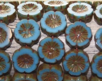 Czech Glass Beads, 14mm Hawaiian Flowers, Maya Blue, 10 Pcs