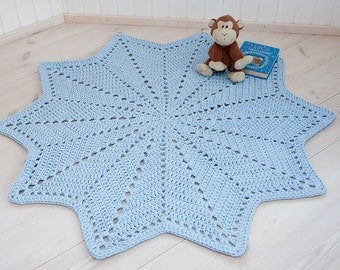 Light blue star shaped doily rug 53''/ 135 cm - crochet carpet - handmade rug - cotton rug - nursery rug - t-shirt yarn rug - floor rug