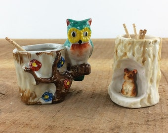 Pair of Vintage Toothpick Holders//Ceramic Owl and Chipmunk