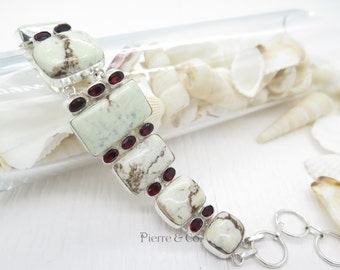 Lemon Chrysoprase and Peridot Sterling Silver Bracelet