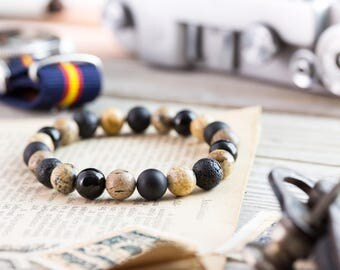 8mm - Black onyx, matte black onyx, brown jasper stone & lava stone beaded stretchy bracelet, yoga bracelet, mens bracelet, womens bracelet