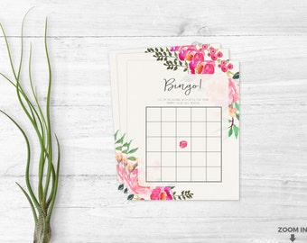Baby shower bingo - Baby shower games - Girl themed games - Baby shower invitation - floral pink games - Printable shower games
