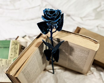 Metal Rose, Steel Rose- forged flower (Perfect art decor) (Blue)