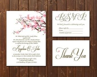Wedding Invitation Printable Template/Printable Wedding Invitation/Classic Wedding Invitation Template/Cherry Blossoms Wedding Invitation