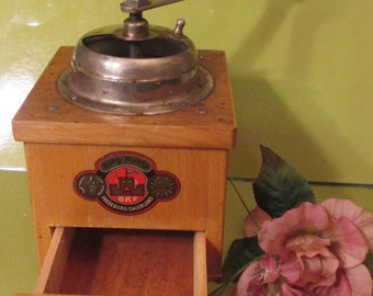 Coffee Grinder-- Spice Grinder --BKF Burg-Muhle--German --Wooden with a Hand Crank and a Pull Out Drawer