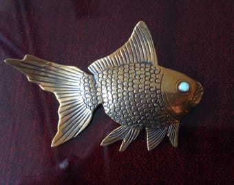Bronze Gold FISH with OPAL Eye convertible pendant BROOCH