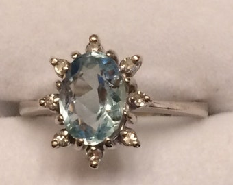 Vintage White Gold 14 KT Aquamarine and Diamond Ring