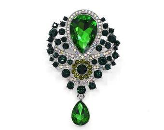 Green Brooch, Emerald Green Large Drop Crystal Brooch, Wedding Accessories, Broach, Brooches DIY Crafts
