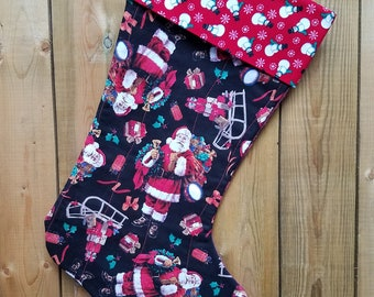 Santa Claus With Sleigh Quilted Christmas Stocking