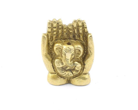 SMALL Brass Ganesha Statue incense holder, Elephant Brass Statue, Meditation Statue, Home Decor, Alter Ornament, hands statue
