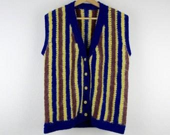 Vintage Mohair Vest / 80s 90s Handmade Striped Blue Yellow Sleeveless Sweater / Medium M