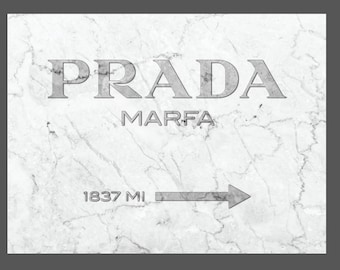 Prada Marfa Marble Canvas Print Silver  - GOSSIP GIRL