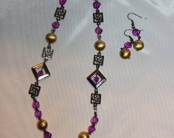 Handmade Purple and Gold Jewelry set