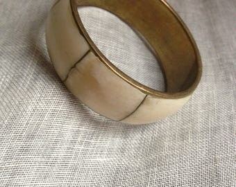 Mother of Pearl Bangle Chunky Boho Vintage Brass Thick Bracelet Retro Earthy