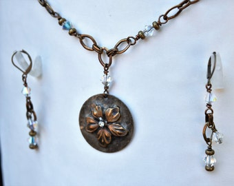 Artisan Antique Brass Hibiscus Flower Pendant and Swarovski Crystal Necklace, Matching Earrings Available