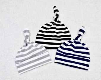Baby Knot Hat,  Stripe Hats, Boy/Girl Knot Hat, Newborn Hat, Baby Gift