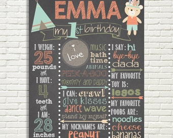 """Tribal First Birthday Chalkboard Sign, TeePee, Bear, Arrows, BoHo, Digital File ONLY, 16X20"""" Poster"""