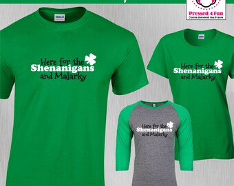 St. Patrick's Day Shirt Shenanigans & Malarkey Design | St Pattys Day Shirts | Funny Shirts | Raglan