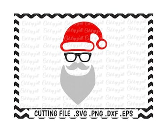 Hipster Santa Svg, Santa Svg, Christmas Svg- Dxf- Png-Eps, Files for Cutting Machines Silhouette Cameo/Cricut  and Others.