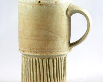 Handmade Ceramic Travel Mug, Carved Coffee Cup, Warm Neutral
