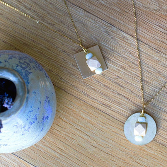 Essential Oil Diffuser Necklace with choice of Essential Oil Blend // Wood & Geometric Amazonite Pendant