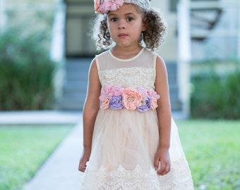 THE Ivory Lace Dress,flower girl dress,princess dress,pageant dress,infant/toddler dress,tulle flower girl dress, ivory lace tulle dress