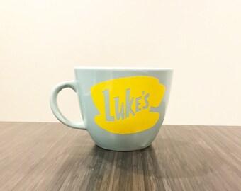 1- Gilmore Girls inspired Luke's Mug with Vinyl Logo Decal