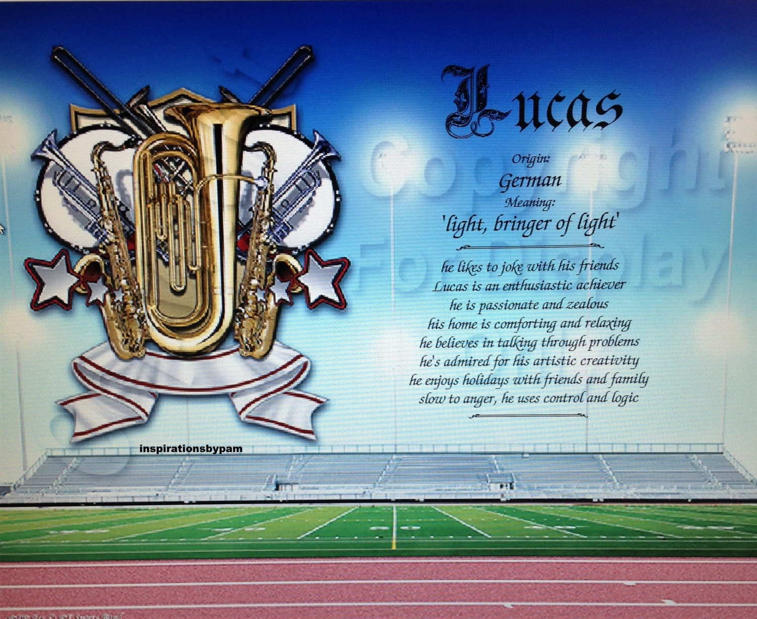 Lucas First Name Meaning Art Print Name Meaning Print Band